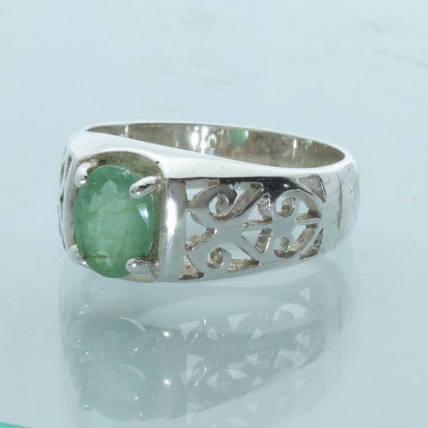 Green Emerald 8x6 mm Handmade Sterling Silver Ajoure Unisex Ladies Ring size 8