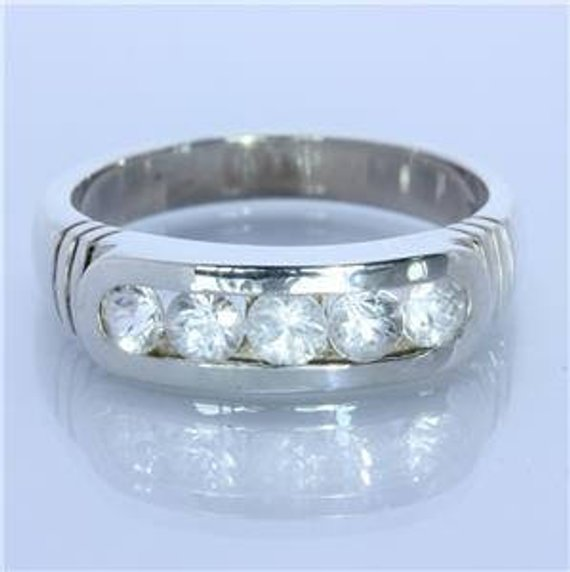 Natural White Zircon Handmade Sterling Silver Unisex Channel Set Ring size 10.5