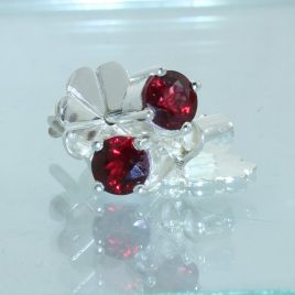 Red Spinel Studs Burmese 4.5 mm Rounds Handmade 925 Silver Ladies Post Earrings