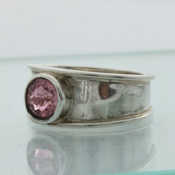 Rubellite Purple Pink Tourmaline Round Handmade 925 Silver Ladies Ring size 7.75