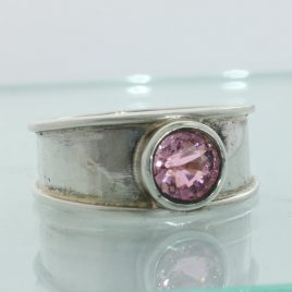 Rubellite Purple Pink Tourmaline Round Handmade 925 Silver Ladies Ring size 7.75