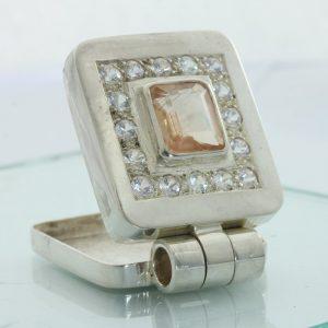 Sunstone Oregon White Sapphires Hand Tooled 925 Silver Hinged Box Locket Pendant