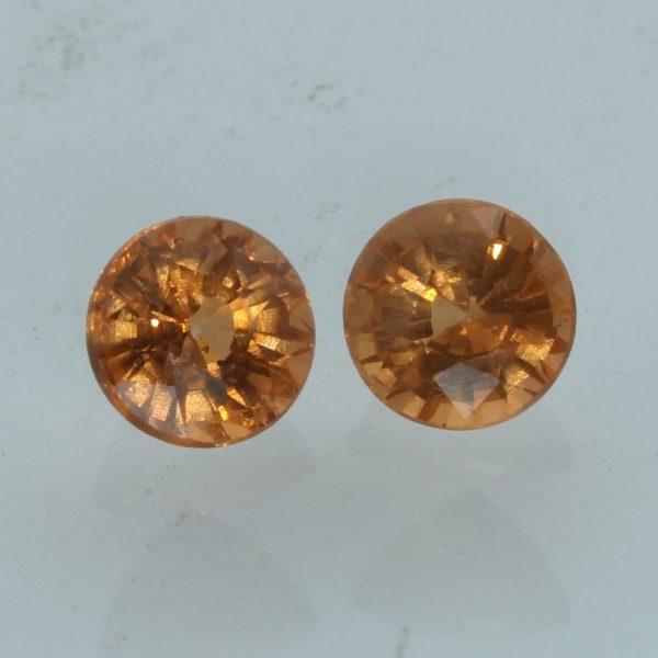 Fanta Orange Spessartite Garnet Pair Faceted Round Gemstones 2.90 total carat