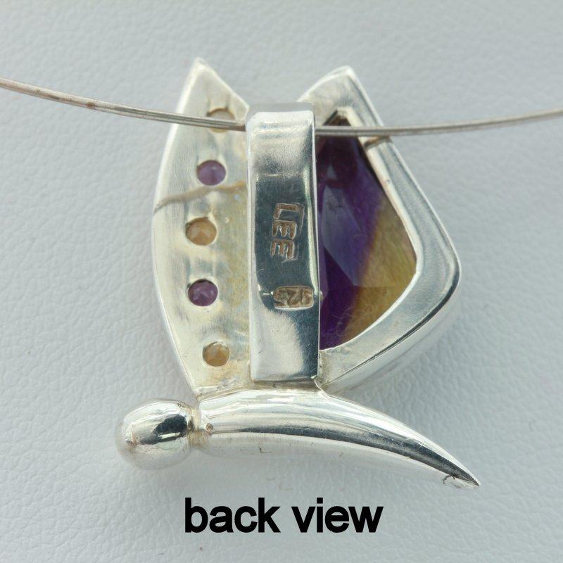 Ametrine Amethyst Citrine Handmade 925 Silver Ladies Butterfly Pendant Design 70