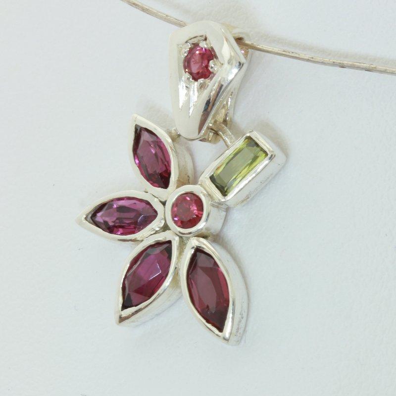 Rhodolite Demantoid Garnet Red Spinel Handmade Silver Floral Pendant Design 102