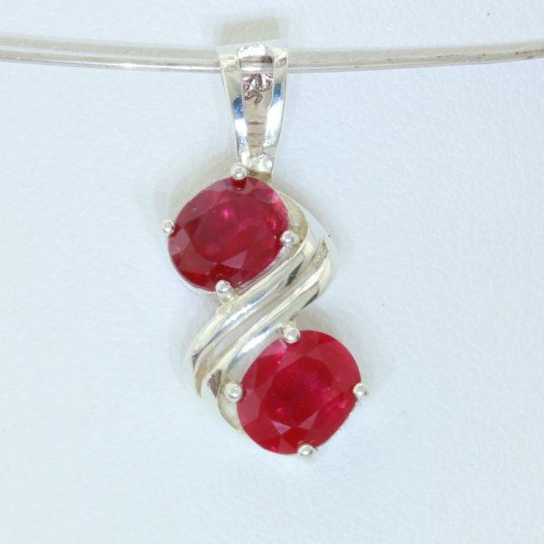 Red Ruby Flux Veiled Lab Created Gemstones Handmade Silver Pendant Design 138