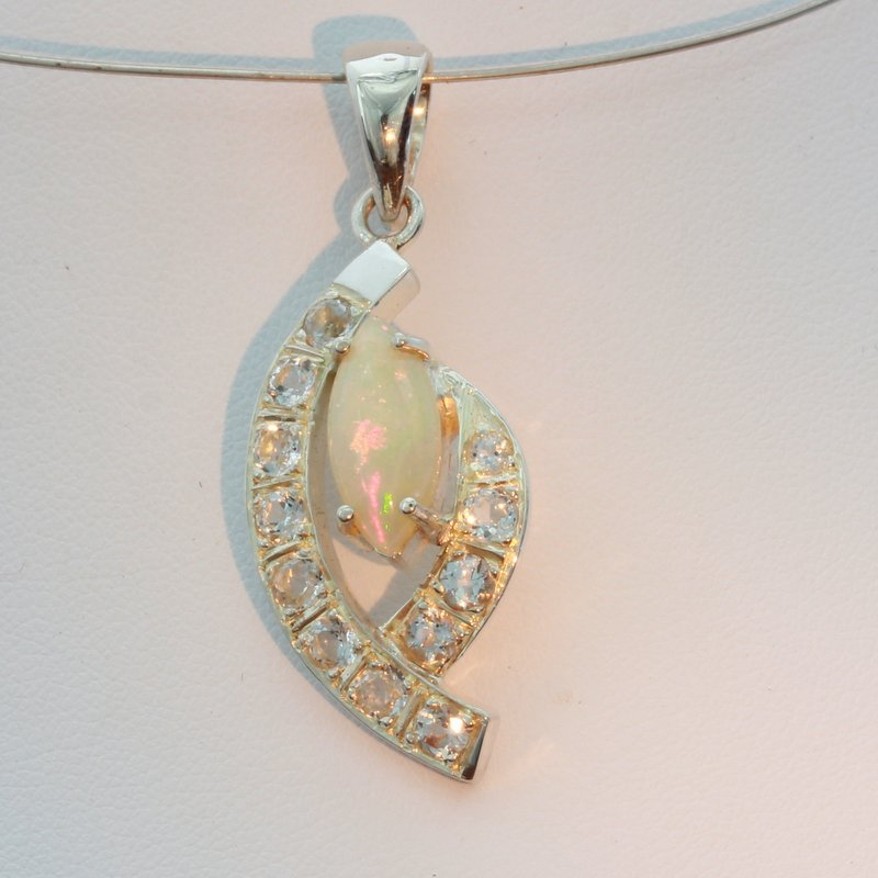 Welo Opal Marquise White Topaz Accents Silver Ladies Dangle Pendant Design 131