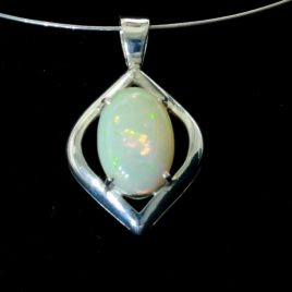 Welo Opal Gemstone Oval Sterling 925 Silver Unisex Rigid Bail Pendant Design 156