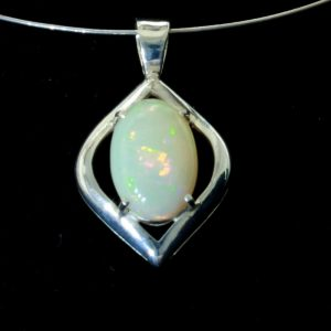Welo Opal Gemstone Oval Sterling 925 Silver Unisex Rigid Bail Pendant Design 156