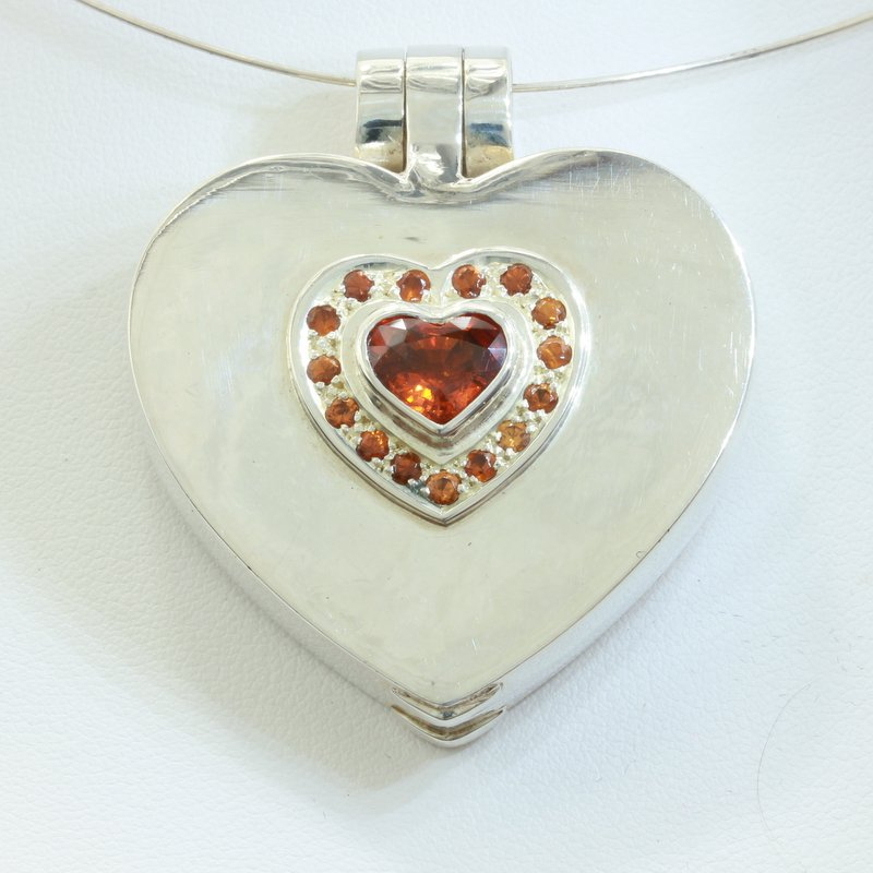 Locket Pendant Spessartite Orange Garnet 925 Silver Hinged Box Heart Design 698