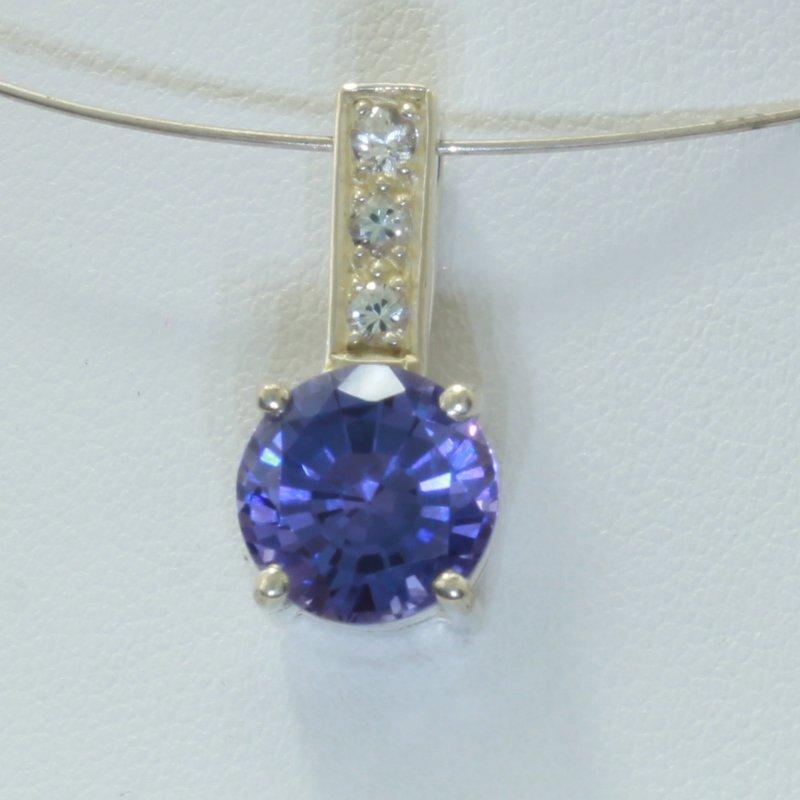 Tanzanite Color Lab Created Sapphire White Sapphires Silver Pendant Design 96