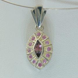 Bi Color Tourmaline Pink Sapphire Halo Ladies Pendant Sterling Silver Design 257