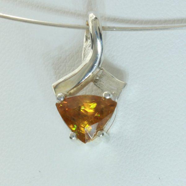 Sphene Titanite Gemstone Handmade 925 Silver Unisex Ribbon Pendant Design 317