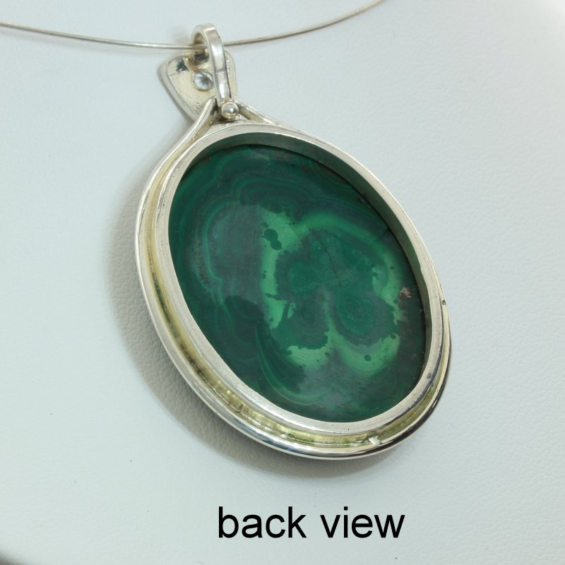 Malachite Large Green Gemstone White Sapphire Silver Unisex Pendant Design 460