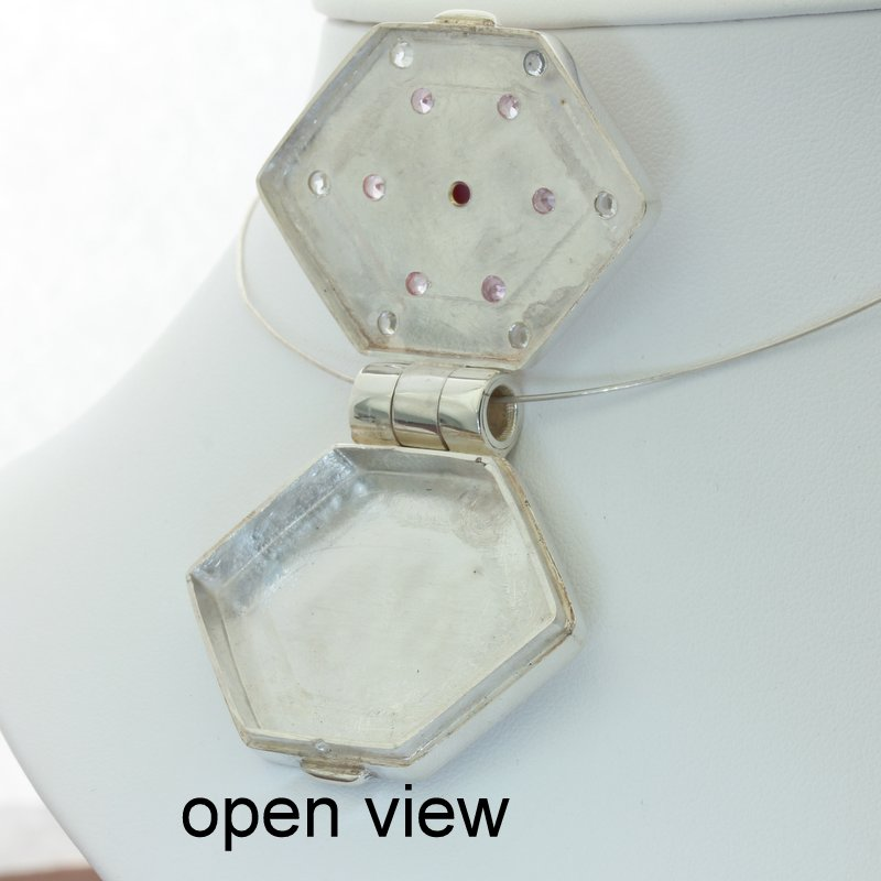 Locket Pendant Pink Star Ruby Pink White Sapphires Hinged Box Hexagon Design 697