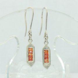 Pair Orange Sapphire Dangle Stick Earrings 925 Ladies Shepherds Hook Design 484
