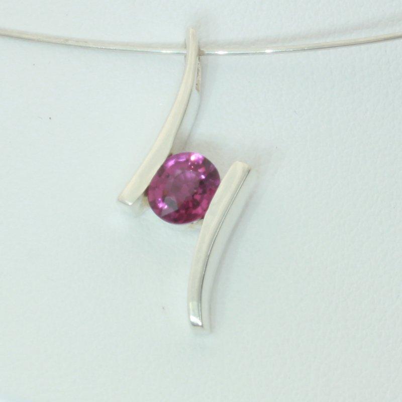 Rhodolite Raspberry Red Purple Garnet 925 Silver Unisex Flair Pendant Design 132