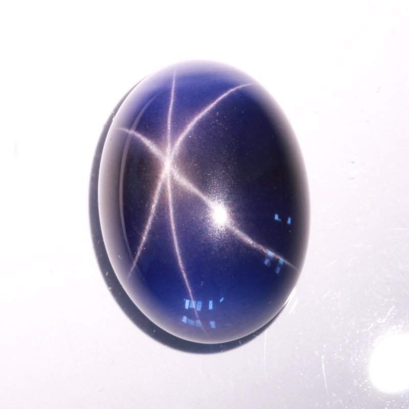 Blue Star Sapphire Floating Six Point Lab Created 22x16 mm Cabochon 34.21 carat