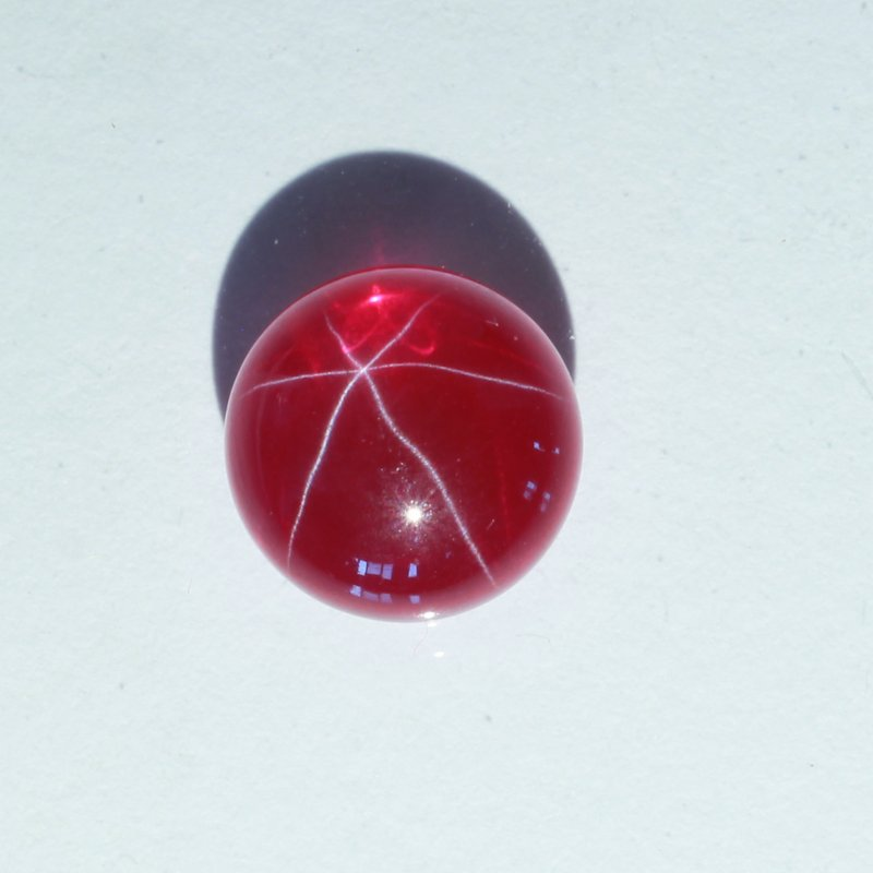 Star Red Ruby Floating Six Point Lab Created Round 10 mm Cabochon 5.57 carat