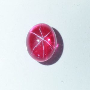Star Red Ruby Floating Six Point Lab Created Oval 10 x 8 mm Cabochon 4.42 carat