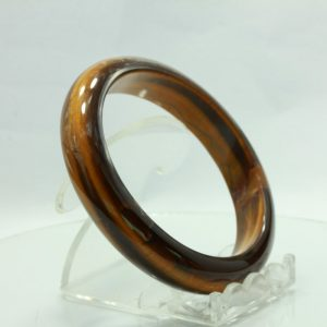 Tiger Eye Bangle Burmese Comfort Cut Tiger's Eye Stone Bracelet 7.4 inch 60 mm