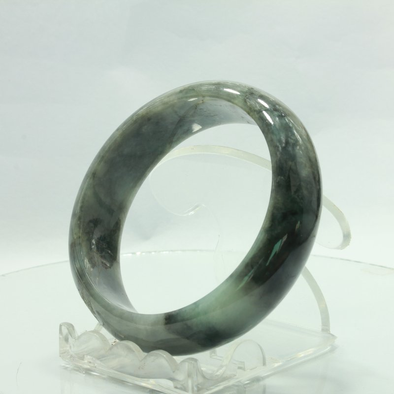 Jade Bangle Burmese Jadeite Comfort Cut Natural Stone Bracelet 6.8 inch 55 mm