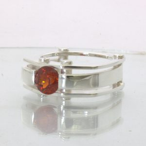 Red Orange Spessartite Garnet Solitaire Gents Silver Ring Design 502 size 9.25
