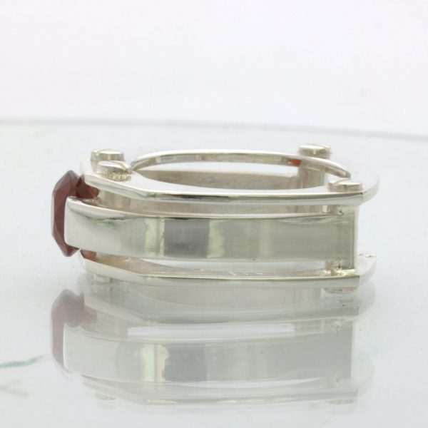 Red Orange Spessartite Garnet Solitaire Gents Silver Ring Design 502 size 9.25