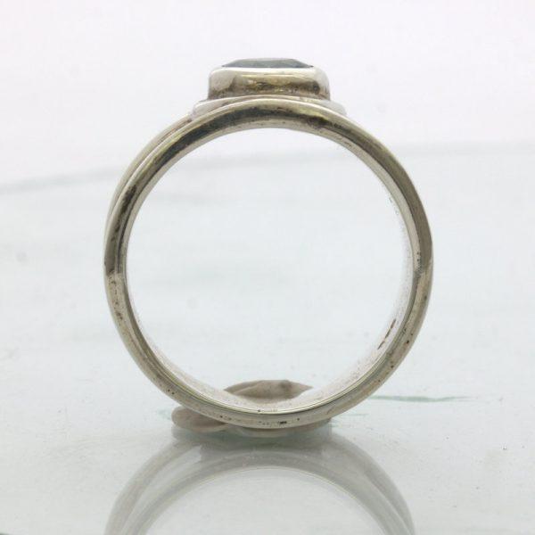 Blue Zircon Cambodia Gemstone Handmade Silver Solitaire Ring Design 93 size 7.25