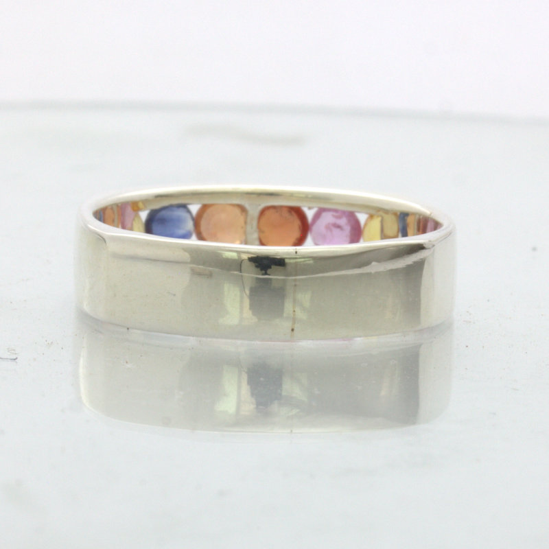 Yellow Blue Orange Red Pink Sapphires 925 Silver Unisex Ring Design 512 size 9