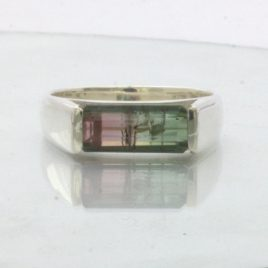 Bicolor Tourmaline Pink Green Gemstone 925 Silver Unisex Ring Design 178 size 9
