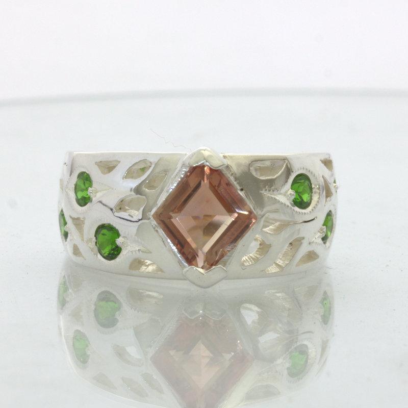 Copper Oregon Sunstone Chrome Green Diopside 925 Silver Ring Design 89 size 8.5