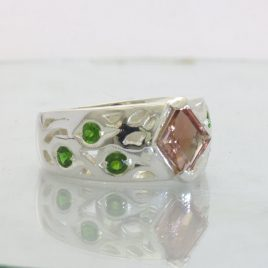 Copper Oregon Sunstone Chrome Green Diopside 925 Silver Ring Design 89 size 8.5