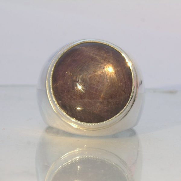 Large Purple Star Sapphire Masculine Ruby Silver Gents Ring Design 52 size 12.5