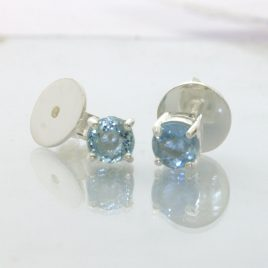 Aquamarine Post Earrings Pair Ladies Gemstone Studs Sterling Silver Design 609
