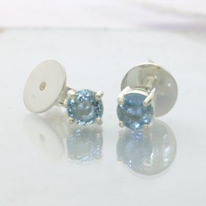 Aquamarine Post Earrings Pair Ladies Gemstone Studs Sterling Silver Design 609