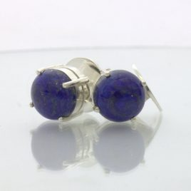 Blue Lapis Lazuli Post Earrings Pair Ladies Studs 925 Sterling Silver Design 609