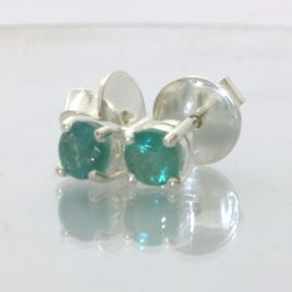 Emerald Post Earrings Pair Ladies Green Beryl Studs Sterling Silver Design 609