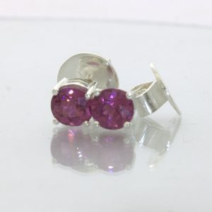 Malaya Pink Purple Orange Garnet Post Earrings Pair Studs Sterling Design 609