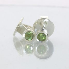 Demantoid Green Garnet Post Earrings Pair Ladies Studs 925 Sterling Design 608