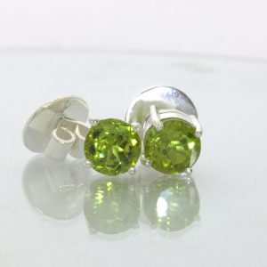 Peridot Post Earrings Pair Ladies Pakistan Gemstone Studs Sterling Design 609