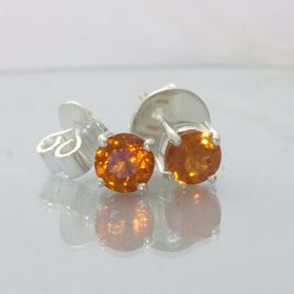 Orange Spessartite Garnet Post Earrings Pair Ladies Studs Sterling Design 609