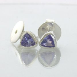 Light Blue Purple Trillion Tanzanite Post Earrings Pair Studs Silver Design 609