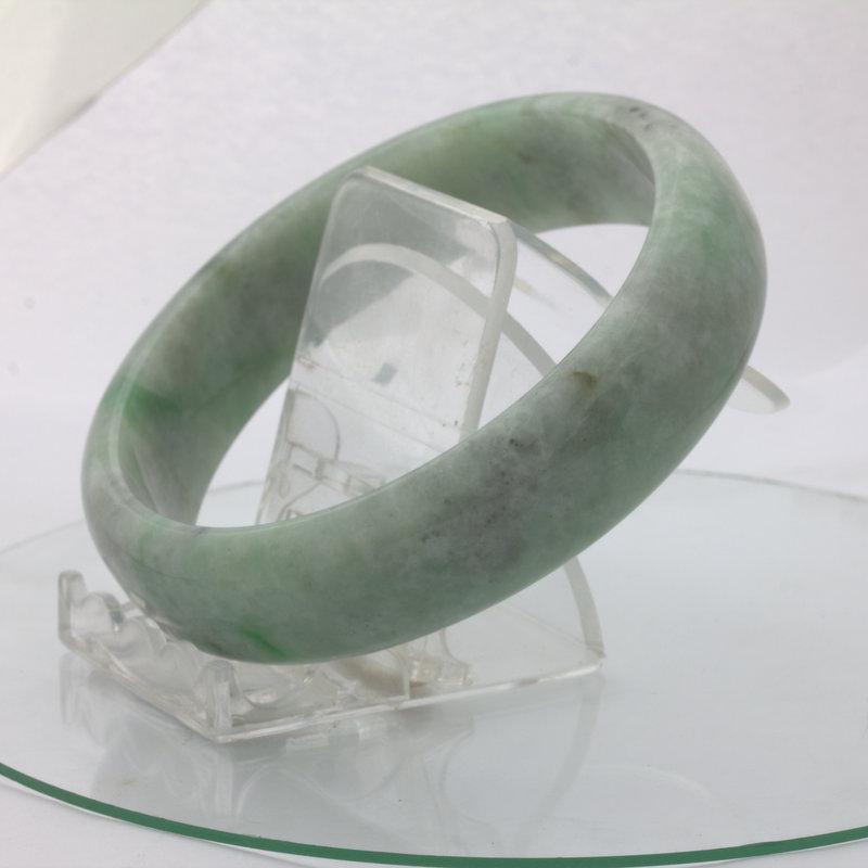 Jade Bangle Burmese Jadeite Comfort Cut Natural Stone Bracelet 9.3 inch 75.5 mm