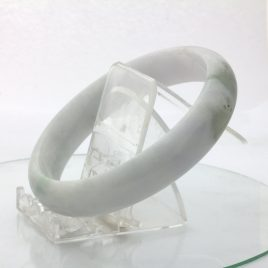 Jade Bangle Burmese Jadeite Comfort Cut Natural Stone Bracelet 9.2 inch 75 mm