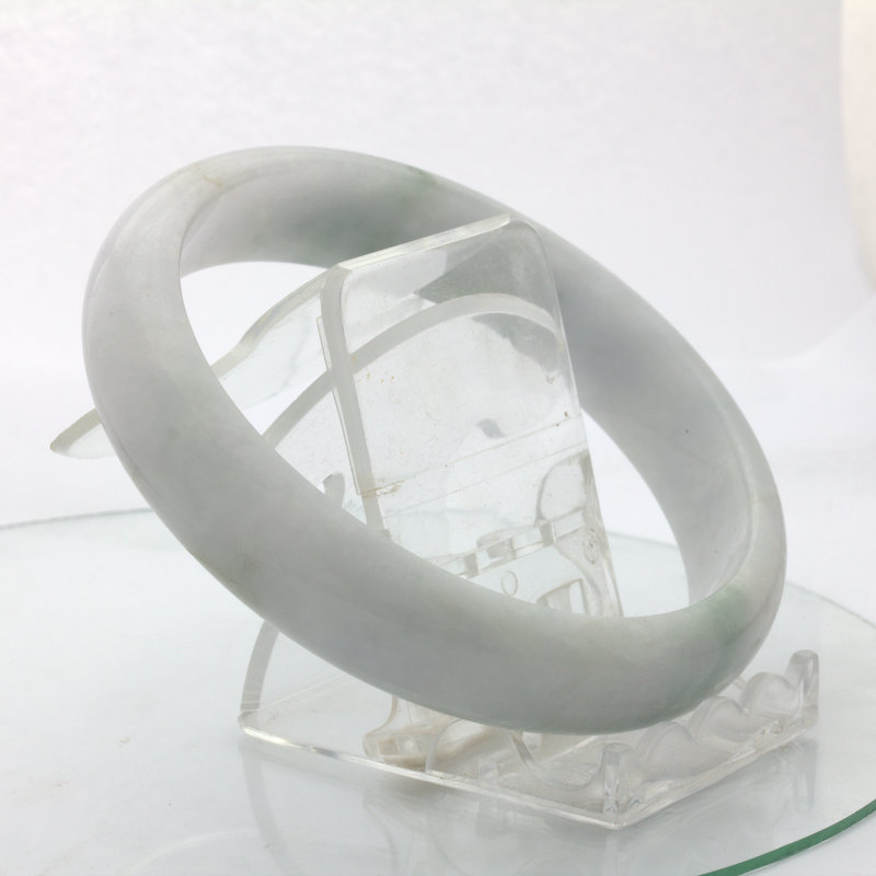 Jade Bangle Burmese Jadeite Comfort Cut Natural Stone Bracelet 9.2 inch 75 mm