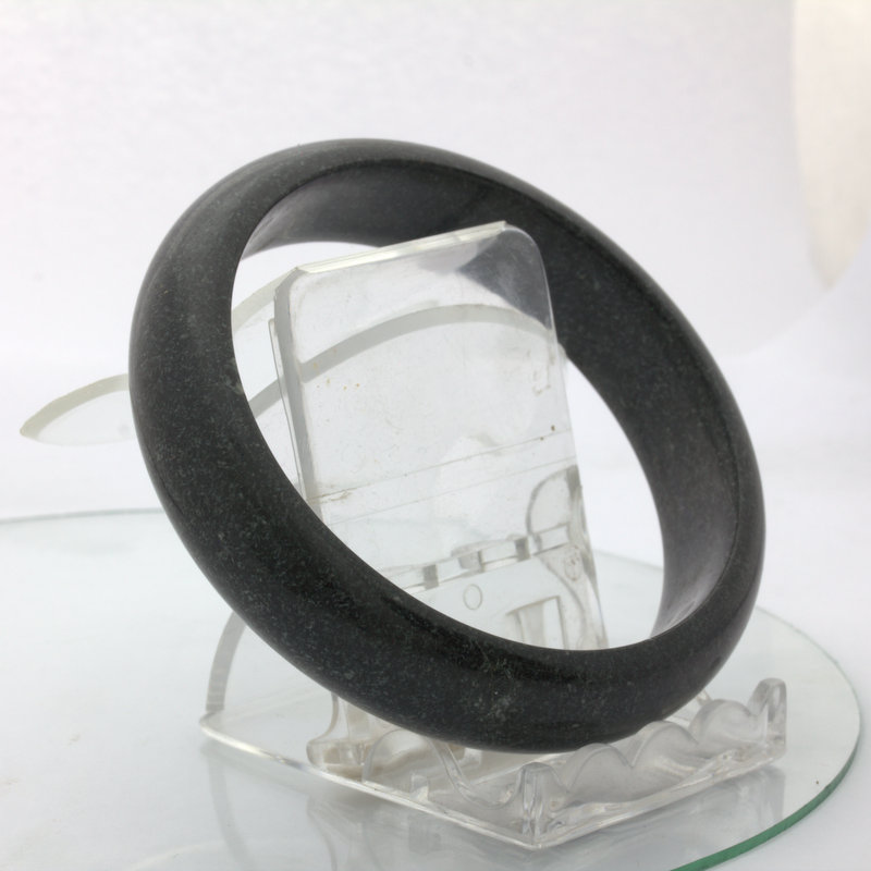 Gray Black Nephrite Jade Untreated Stone Bangle Bracelet Size 8.1 inch 65.5 mm