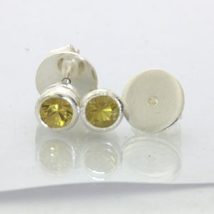 Yellow Grandite Mali Garnet Post Earrings Pair Ladies Studs Sterling Design 609