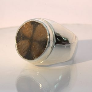 Chiastolite Cross Andalusite 21 carat Gem Silver Gents Ring Design 52 size 13