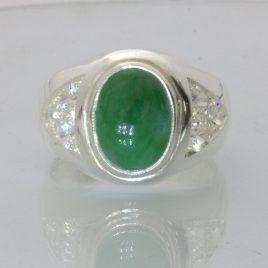 Burmese Green Jadeite Jade White Sapphire Silver Gents Ring Design 28 size 9
